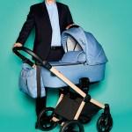 """Peter Hotz, Geschäftsführung von knorr-baby, mit konfigurierbarem Kinderwagen """"Life+"""""""