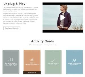 """Homepage von """"Name It"""" zur Aktion """"Unpug & Play"""", zu der es neun Wochen lang kostenlose """"Acitivty Cards"""" mit Spielanleitungen gibt."""