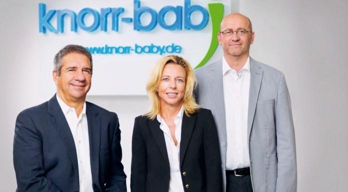 Neues Führungsteam bei Knorr-Baby: Dr. Imaan Bukhari, Geschäftsführer, Anja Menz-Svensson, Leiterin Brand- und Produktmanagement, und Stefan Zipfel, Vertriebsleiter (v.l.n.r.)