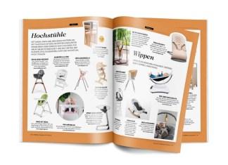 Hochstühle und Wippen aus der Möbelstrecke der Ausgabe Childhood Business 09-10 2019.