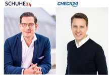 Dr. Dominik Benner (l.), Gründer und Geschäftsführer SCHUHE24, und Dr. Andreas Waschto, Geschäftsführer CHECK24 Fashion.