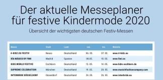 Termine der Messen und Ordertage für festive Kindermode in Deutschland 2020
