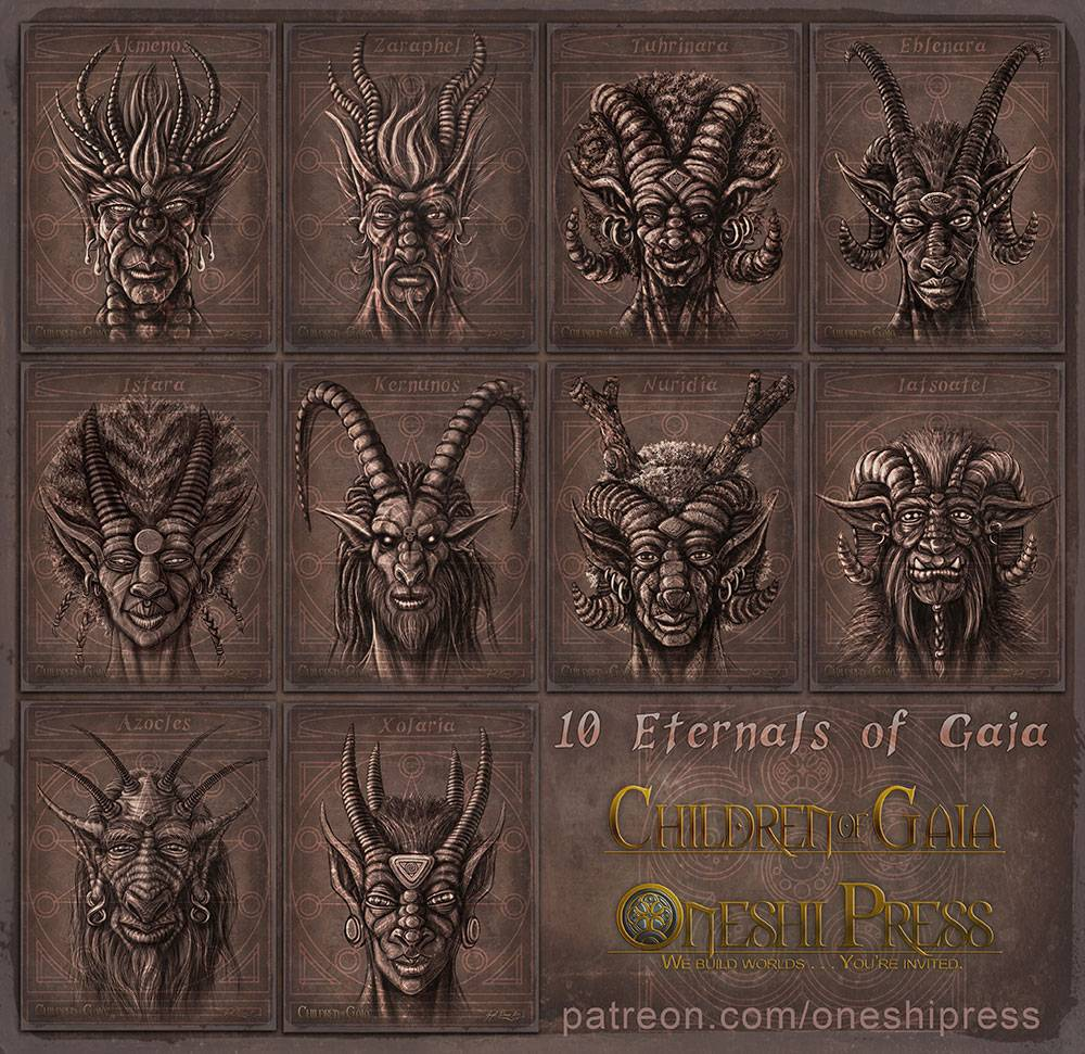 The ten Eternals of Gaia - From Oneshi Press': Children of Gaia - Illustrated by Jayel Draco