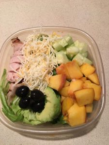 Back to School. Lunch.salad and fruit.finished