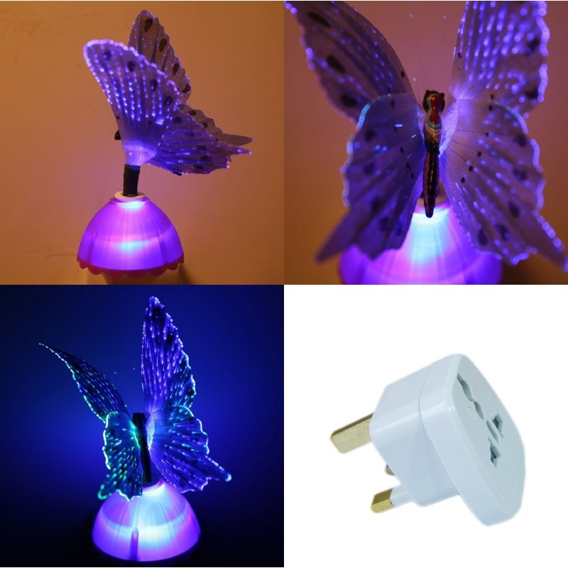 Purple Firbe Optic Butterfly Light Childrens Night