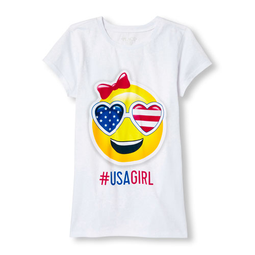 Image for Girls Americana Short Sleeve 'USA GIRL' Emoji Graphic Tee from The Children's Place