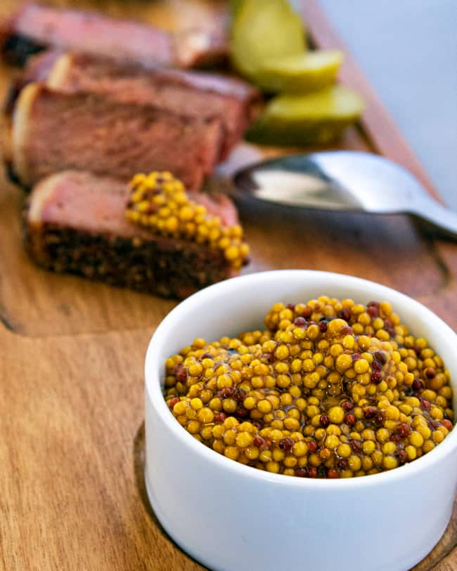 pickled mustard seeds and steak