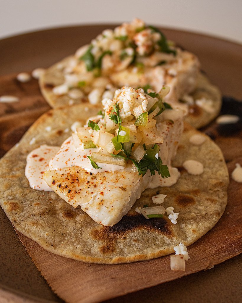 maize glaze on grilled fish tacos