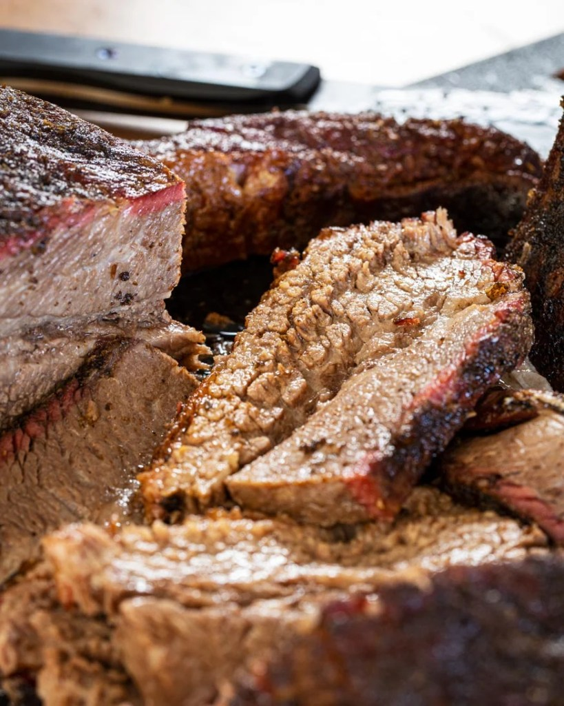 sliced brisket, smoked and rested
