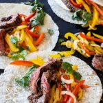 Chipotle skirts steak fajitas, grilled and served with sour cream