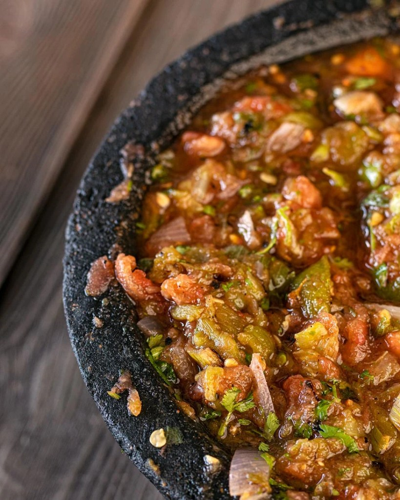 Fire Roasted Santa Maria salsa served in a molcajete