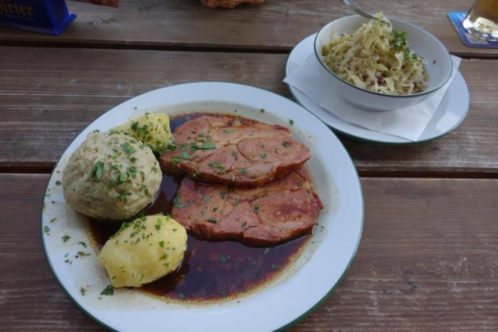 Surschnitzel, Knödel, Potato, Cole Slaw... Protein, Fat, Carbs, Salt