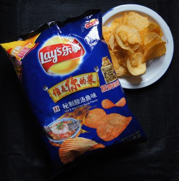 Lays Chips in Hot-Sour Fish Soup Flavor