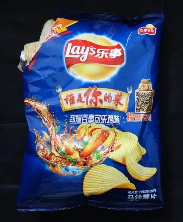 Lays Chips mit 'Heftig Gebratenes Pepsi-Cola Huhn'-Geschmack