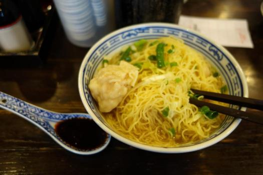 Wonton-Egg Noodle-Soup at Tsim Chai Kee, Hong Kong. With chilli oil.