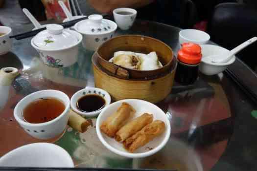 Frühlingsrollen und Reisnudel; Lin Heung, Hong Kong