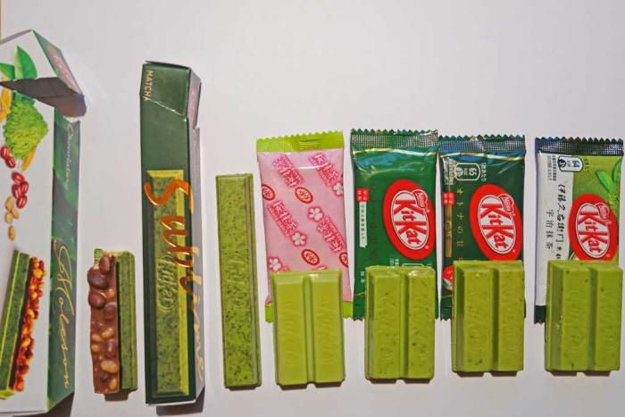 The range of Matcha KitKat in Japan