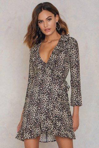 NA-KD silk wrap dress £52.95