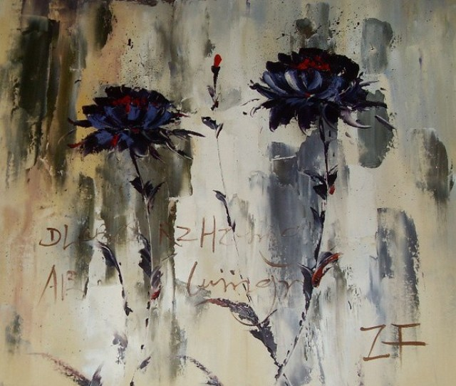 Hand Painted Oil Painting Flowers By Chinese Artists