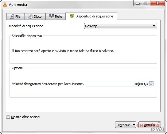 registrare lo schermo su Windows con VLC
