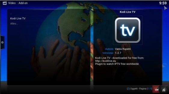 Kodi Live TV add-on