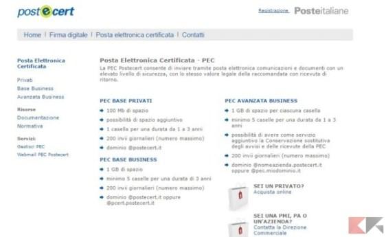 Poste Italiane - Posta Elettronica Certificata