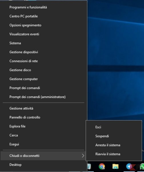 menu Start di Windows 10 - Menu Contestuale