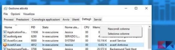 Gestione attività Windows 10