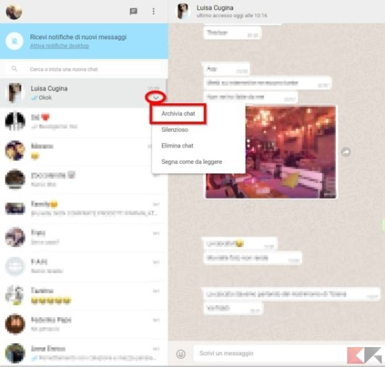 archiviare chat whatsapp web