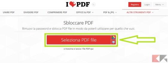 come rimuovere protezione PDF - iLovePDF