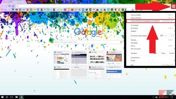 Navigare in incognito con Chrome