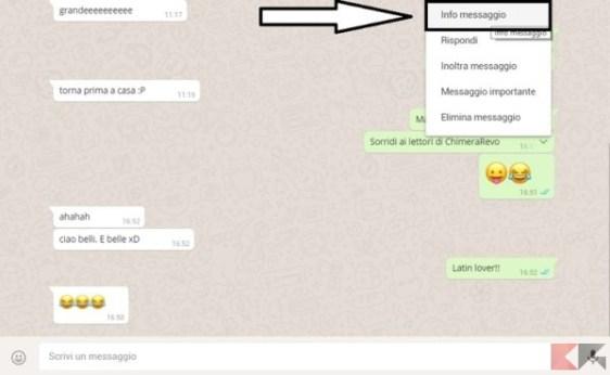 WhatsApp visualizzare l'orario di visualizzazione del messaggio