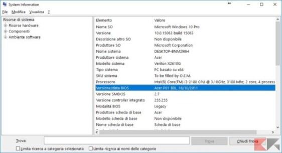 Trovare versione BIOS