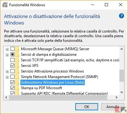 installare la Bash di Linux su windows 10: Attivazione o disabilitazione funzionalità