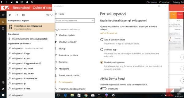 installare la Bash di Linux su windows 10: Modalità sviluppatori di Windows 10