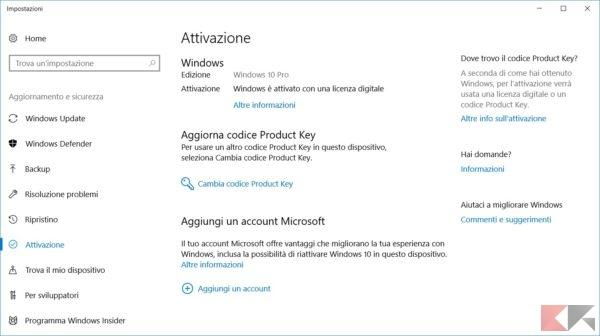attivare Windows 10: la schermata attivazione
