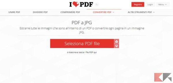 estrarre immagini da PDF: IlovePDF