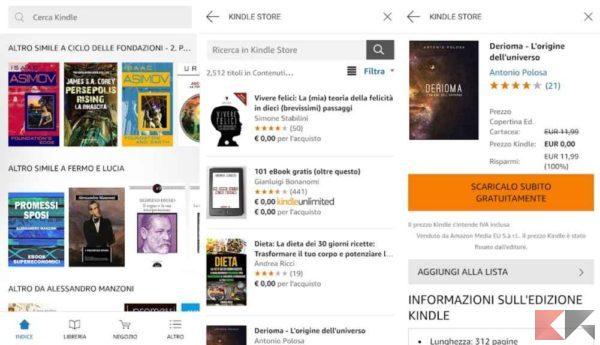 scaricare libri gratis su Android: Kindle shop