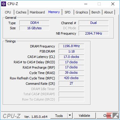 CPU-Z scheda Memory