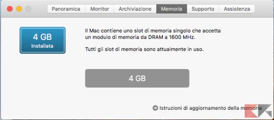 Tab Memoria in macOS HIgh Sierra.