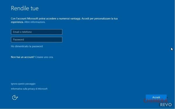 Configurazione account MS