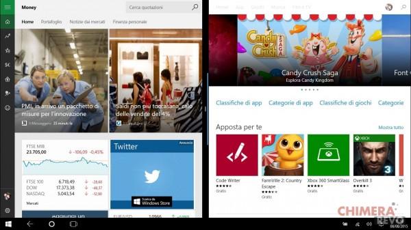 App Universal - Snap in modalità tablet