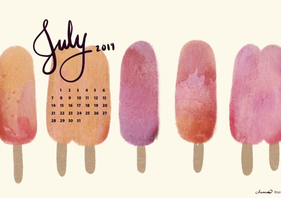 July 2019 desktop calendar on a watercolor popsicle background