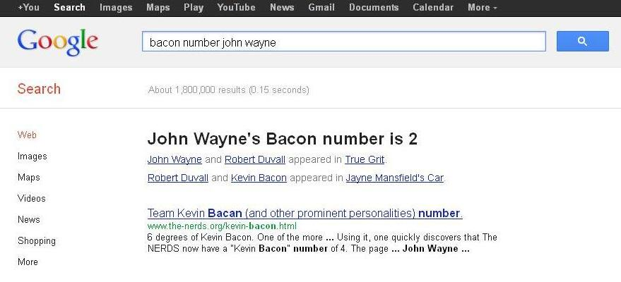 John Waynes Bacon Number