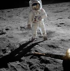 Aldrin on the Moon (with Armstrong reflected in visor)
