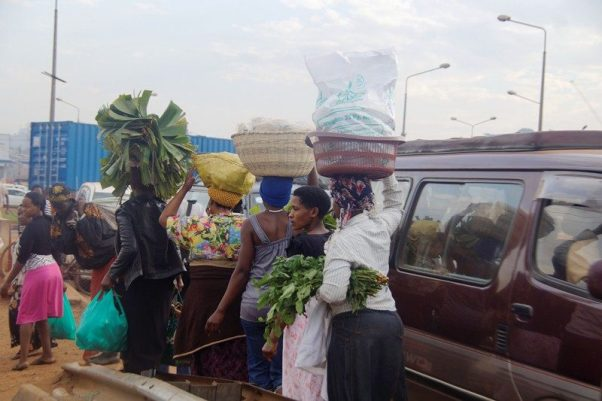 Women headed to their work places in Kalerwe, Kampala on Saturday morning
