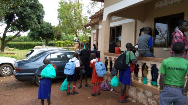 Children under the program receive their basic requirements as they report to school for a new term.