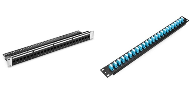 Figure 2: Ethernet Patch Panel (Left) and Fiber Optic Patch Panel (Right)