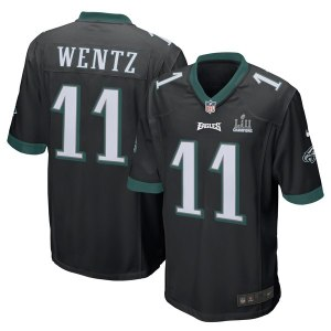 Men's Philadelphia Eagles Carson Wentz Nike Black Super Bowl LII Champions Patch Game Jersey