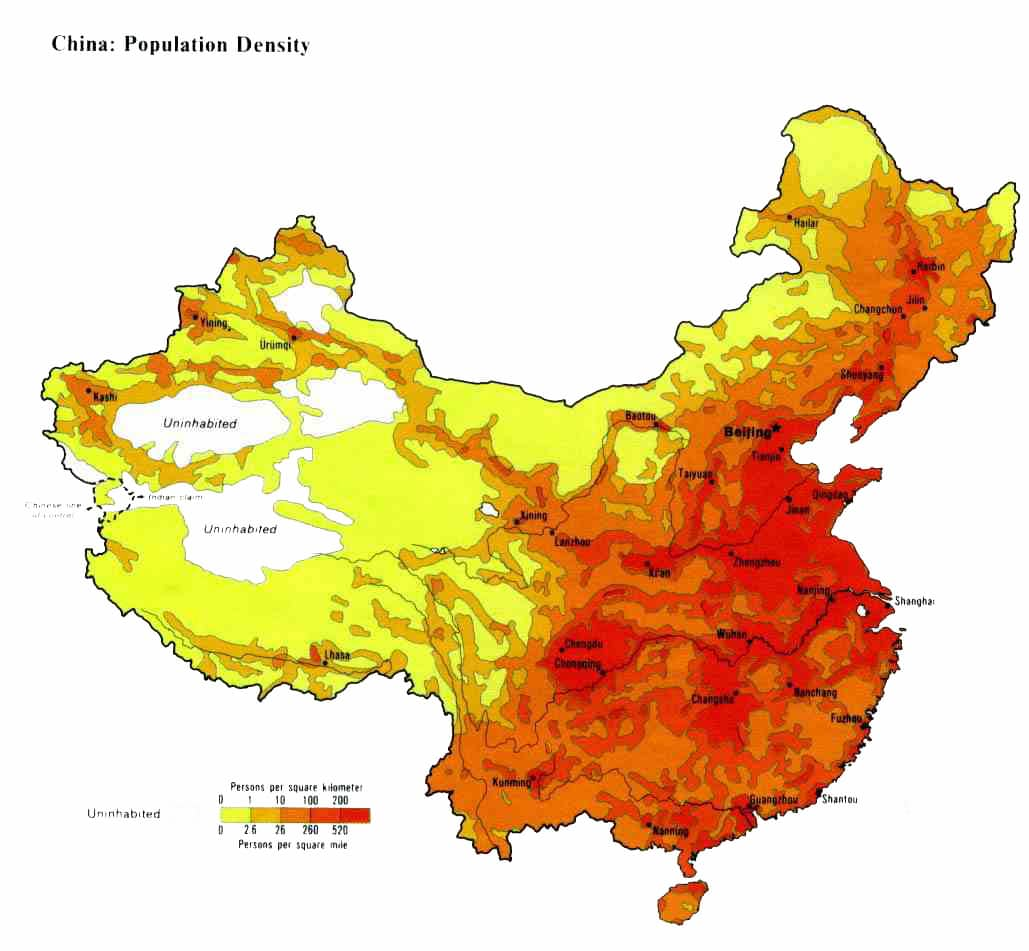 China Population Density Maps Downloadable Maps